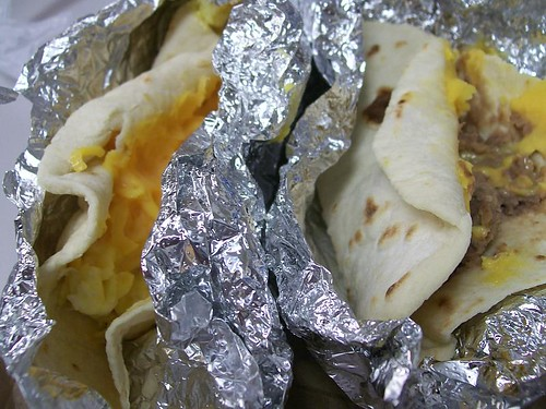 Egg & Cheese and Bean & Cheese tacos