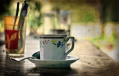 coffee in the shade (Tanjica Perovic) Tags: light stilllife art texture cup glass coffee guests vintage photography dof friendship artistic bokeh grunge serbia retro nostalgia monastery chapeau balkans tradition arrangement tablesetting hospitality atmospheric nowpublic tabletop pleasant diningtable textured srbija teaspoon shallowdof fauxvintage inthegarden nisava pirot nostalgicmood kej formyflickrfriends southeasteurope canoneos400d sigma1770mmf2845dcmacro anawesomeshot grungeartwork texturedlayers goldstaraward southeastserbia pirotskikej pirotskicilim  kejnanisavi  serbiancoffee pirotserbia uncafvirtuel homeatmosphere serbianhospitality orthodoxmonasteryhospitality tanjicaperovic pirotkej pirotski pirotsrbija  tanjicaperovicphotography