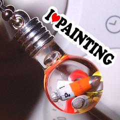 I heart Painting Artist Paint Tubes in a Tiny Vial Pendant Necklace