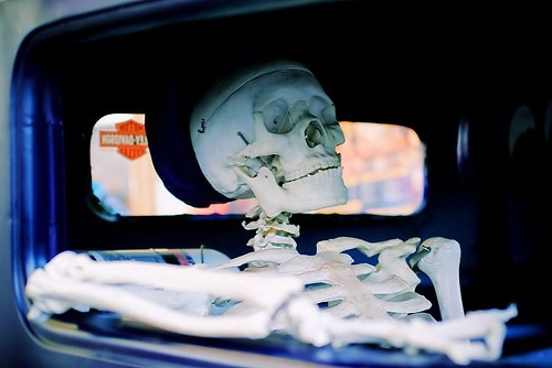 Co-Pilot - a skeleton in a car at the Stro's Wednesday Nite Cruise-In in Stayton Oregon