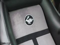 VW Rabbit logo - In Cosmic Green Rabbit WM (DUKEDLF) Tags: black rabbit bunny green car vw volkswagen logo grey gris embroidery seat gray stripe pa madness trophy custom ultra cosmic dci suede recaro watercooled maddness mk1 vwvortex mk1madness