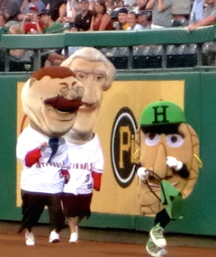 Washington Nationals' racing presidents Teddy and Tom with racing pierogie Jalapeno Hanna at PNC Park