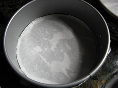 prepared cake pan