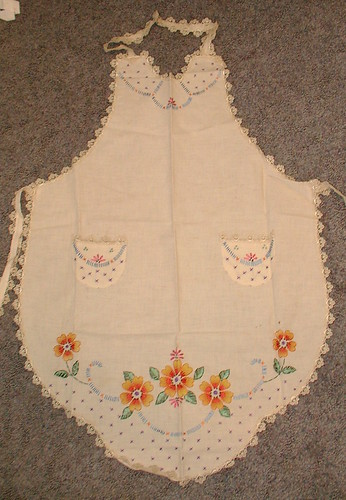 embroidery and painted apron