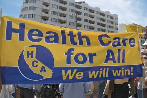 Health care for all protest outside health insurance conference at Moscone West