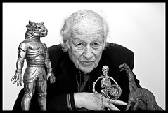 Ray Harryhausen with some of his creations
