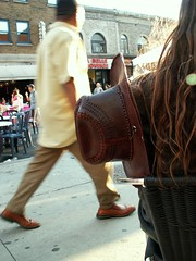 Cowboy on a break (homardbleu) Tags: street canada montral main streetportrait qubec cowboyhat rue stlawrenceblvd boulstlaurent chapeaudecowboy photosafarimtl portraitderue psm210608