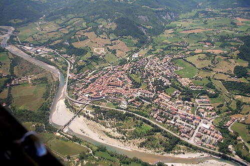 Panoramic view of Bobbio town Gobbo bridge on Trebbia river