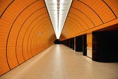 Munich Subway Tunnel (j.hietter) Tags: travel light orange architecture train germany subway munich tile deutschland lights nikon europe pattern empty transport tube bart rail railway tunnel s munchen streetcar bahn repeating 18200mm d80