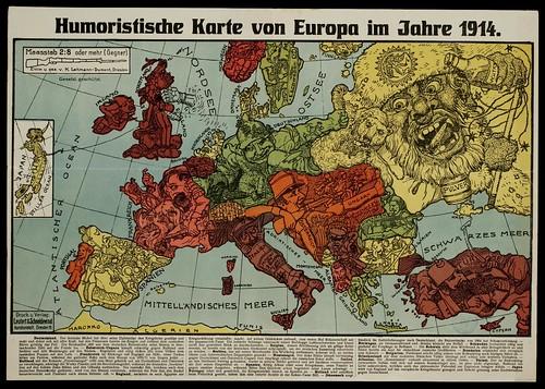 Humoristische Karte von Europa im Jahre 1914