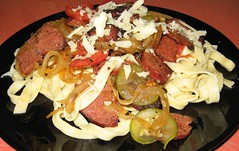 One Local Summer wk 9: summer sausage, onions, zucchini, tomatoes over homemade pasta