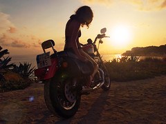 Sunset Rider (Sator Arepo) Tags: sunset shadow sea summer sun bike backlight landscape freedom evening reflex wheels engine olympus harley harleydavidson motorcycle vehicle custom polarizer rider zuiko sportster salou 883 e500 883r uro 1454mm capsalou zd1454mm sunsetrider retofz090131 retofz090825 gettyimagesspainq1 iberiastreets