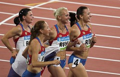 Gold for the Russian women's 4x100m relay team (SH Wayne) Tags: field gold track russia beijing games womens olympic olympics relay 400m 4x100m 2008olympics 4x100