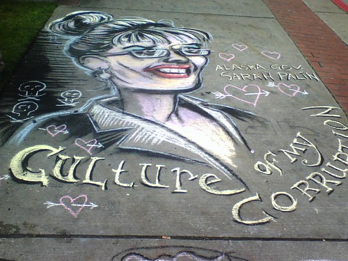 Sarah Palin in Chalk Most Popular Flickr Picture in Tacoma