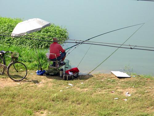 Fishing at lake near Tanghe, Henan Province, China