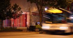 Life imitating art (Angela Richardson - Artist) Tags: usa bus wisconsin night stripes madison streaks statestreet mmoca madisonmuseumofcontemporaryart madisonmetro
