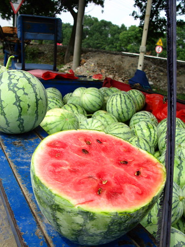 Mini watermelons for sale for 0.16 Euro a kilogram near Luxu, Jiangsu Province, China