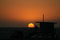 Venice Beach Sunset (ccharmon) Tags: ocean venice sunset beach losangeles october lifeguard 2008 sillhouette lifeguardtower