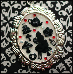 The Tea Party (stOOpidgErL) Tags: red white black mushroom cake glitter diy necklace tea handmade craft jewelry plastic pot cupcake donut cameo resin rhinestones pendant aliceinwonderland drinkme stoopidgerl