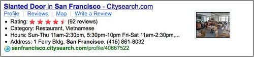 Citysearch Results on Yahoo