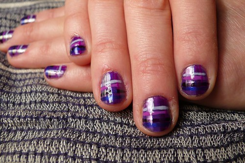 Purple nail design shiny