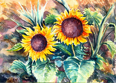 Sunflowers (BILBOV.(Lorus Maver)) Tags: flowers light art artwork sunflowers watercolour luminosity lorusmaverbilbov lorusmaver