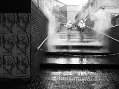 Steamroom (Laura-Elizabeth) Tags: city reflection wet rain station dark gum concrete scary workers uniform noir moody grim glasgow fear working steps steam cleaning tape posters council removal queenstreet futuristic inaction cancelled theview donotcross glasgowcitycouncil taxpayersmoney steamcleaning dehumanising