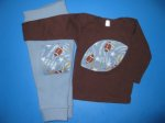 WCW Football Wool Interlock Longies and Tee - Medium