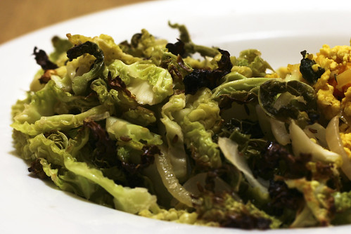 Roasted Savoy Cabbage with Onion and Caraway