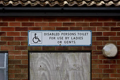 DISABLED PERSONS TOILET FOR USE BY LADIES OR GENTS (Leo Reynolds) Tags: sign canon eos iso100 wheelchair f56 110mm 0ev 0006sec signrestroom 40d hpexif groupwheelchairs xleol30x xratio3x2x xxx2008xxx