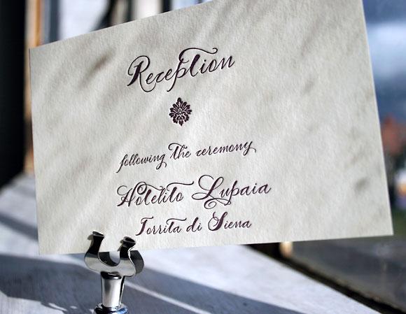 Calligraphy letterpress wedding reception card - Haddington design, by Smock