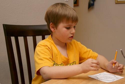 Jamie writing letter to Santa