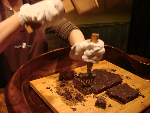 Chopping the Chocolate Slabs