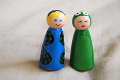 Anna and Ellery Wooden Dolls