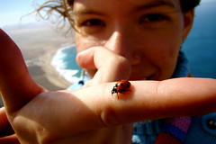 Jen y su Mariquita (eriicrm) Tags: ocean sea espaa macro beach beautiful look hair landscape islands mar spain eyes wind playa canarias viento atlantic ojos ladybug canary sight mirada pelo famara oceano atlantico mariquita sarantonton paisabje