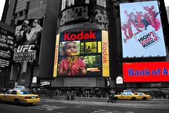 Kodak Girl (Yaa-mean) Tags: city people signs newyork flower girl kodak taxis busy sunflower