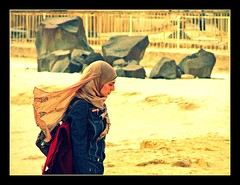 Cairo, Egypt (Daniel Kliza) Tags: blue girls girl sphinx scarf site veiled sad veil muslim think thinker egypt hijab blues cairo egyptian thinking worried muslims niqab giza egyptians