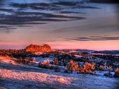 Vedawoo, early dawn II (JeremyT) Tags: pink blue winter sky snow cold nature sunrise landscape rocks alpine wyoming vedawoo