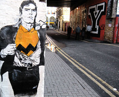 london/shoreditch/cargo (l.e.t.) Tags: street streetart london pasteup art poster stencil sticker artist comic gallery contemporary kunst wheatpaste banksy police exhibition spray superman popart clark silkscreen let eine