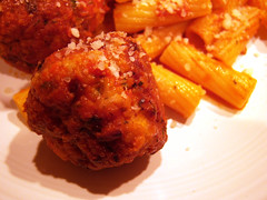 Turkey meatball(s) (DK10 | Stove With A House) Tags: ohio food usa cooking kitchen cheese turkey blog december pasta hudson dishes 2008 fiestaware pecorino firsthome turkeymeatballs december5 december2008 astovewithahousearoundit whitefiestaware december52008