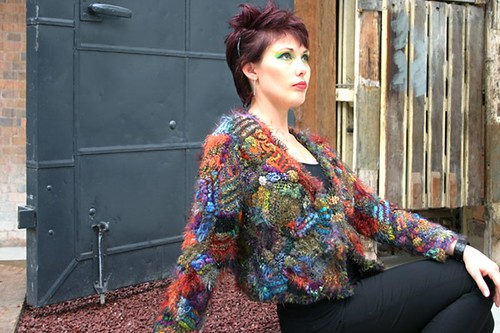 Bolero in freeform knitting & crochet