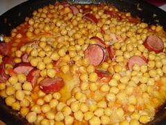 Chick peas, sausage and pork