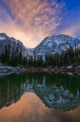 Dragons Breath (Bryan Swan) Tags: sunset sky lake color reflection water clouds evening washington wa alpinelakes dragontail colchuck