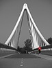 Red shirt..... (Rob Verhoeff) Tags: bridge bw zwartwit tshirt olympus zoetermeer brug rood zuidholland e500 1445mm selectivecolors balijbrug harloper