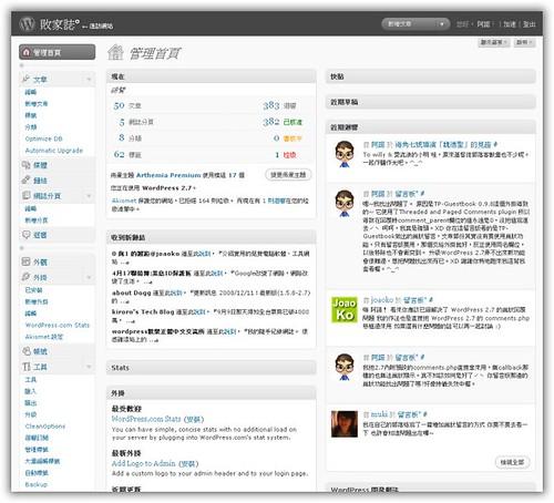 WordPress 2.7 後台預覽圖