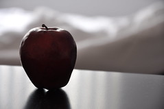 Old temptation (- g a b a -) Tags: old light shadow red food white black apple fruit table sheets shape temptation wrinkle platinumheartaward