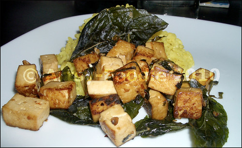basil-crispy tofu with rice