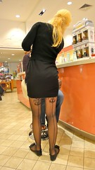 Blond with Seamed Stockings, Tattoos & Flats (Lynn Friedman) Tags: woman black stockings tattoo ink shoes leg roadtrip mini skirt flats thigh blond blonde tat seam seams seamed lynnfriedman