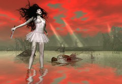 Snap - Murders of Alles Klaar_033 (Alles Klaar) Tags: trees red woman water beauty clouds reflections hair ballerina knife secondlife tutu windlight roadkillnoob