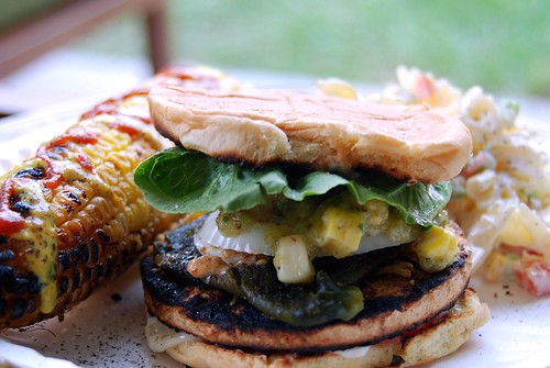 chickn burger with poblano